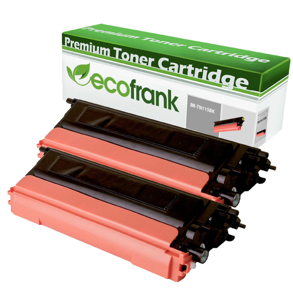 EcoFrank Compatible High Yield Toner Cartridge Replacement for TN115BK TN110BK (Black, 2-Pack)