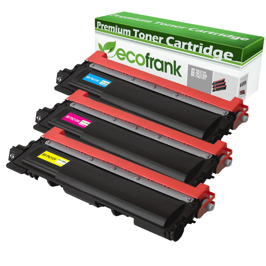 EcoFrank Compatible Toner Cartridge Replacement for TN210C TN210M TN210Y (Cyan, Magenta, Yellow)