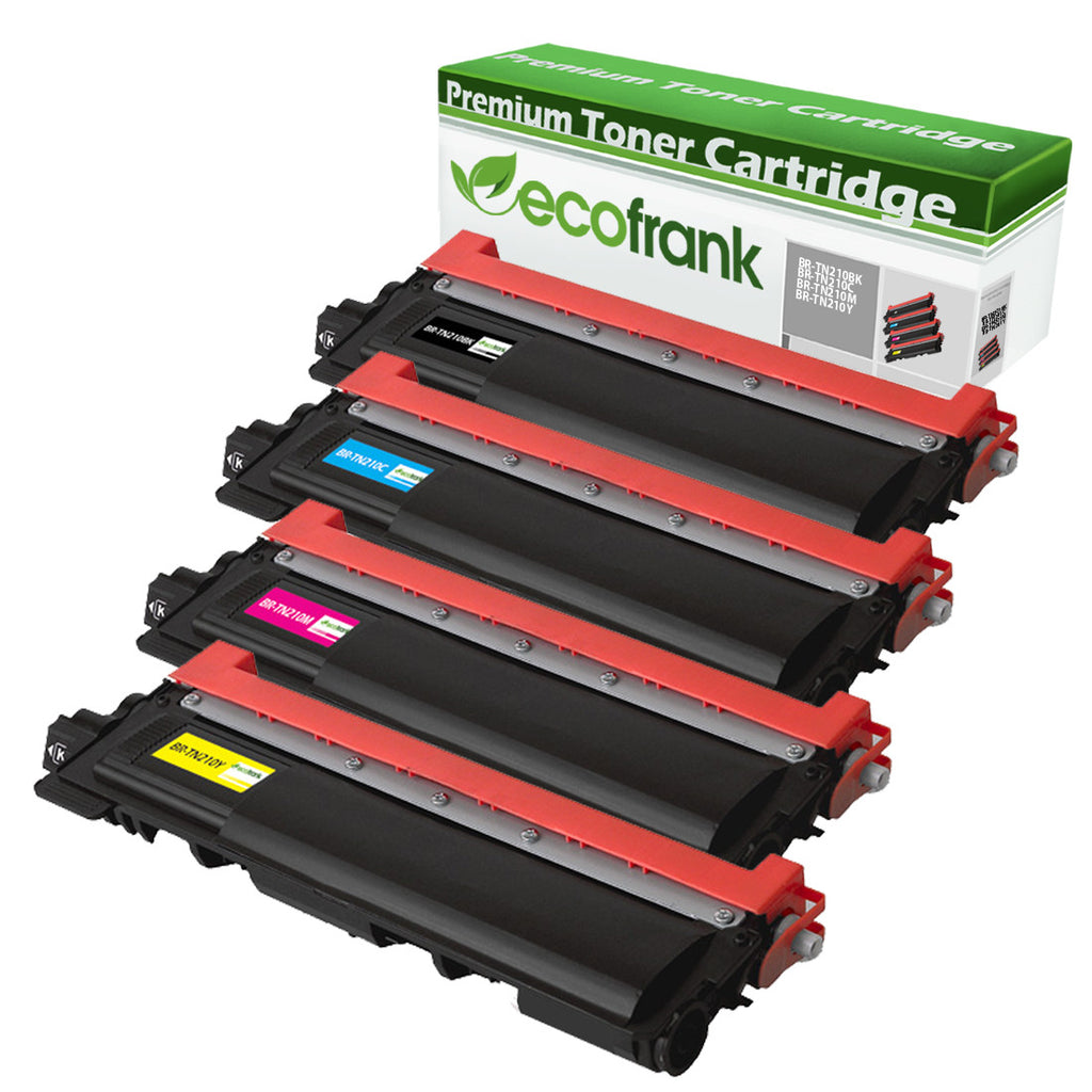 EcoFrank Compatible Toner Cartridge Replacement for TN210BK TN210C TN210M TN210Y (Black, Cyan, Magenta, Yellow)