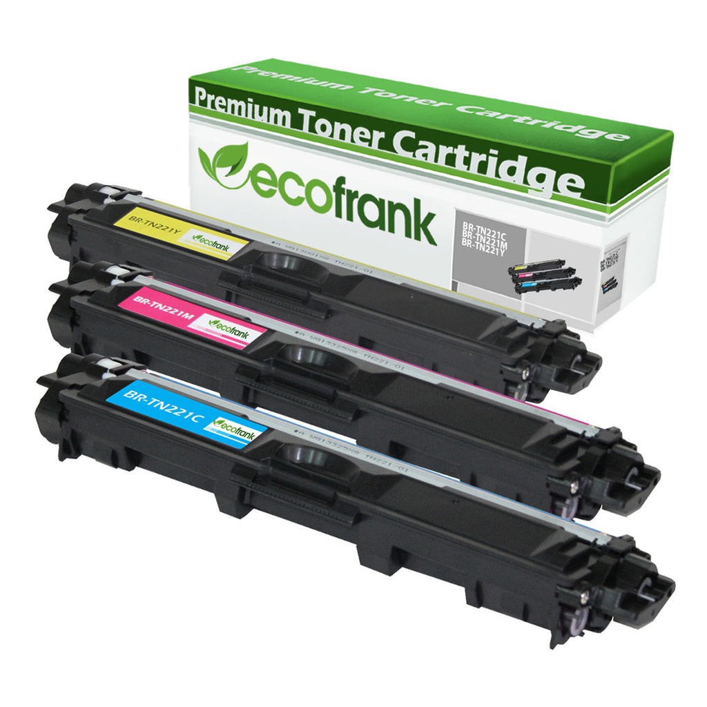 EcoFrank Compatible Toner Cartridge Replacement for Brother TN221C TN221M TN221Y (Cyan, Magenta, Yellow)