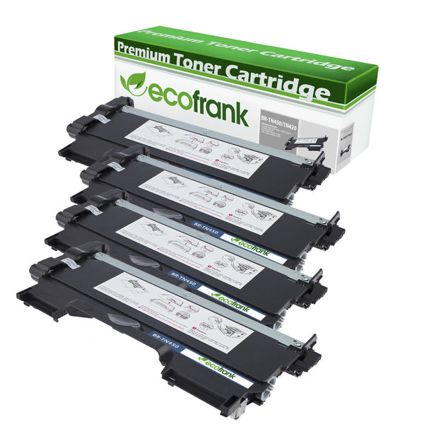 EcoFrank Compatible High Yield Toner Cartridge Replacement for Brother TN420 TN450 (Black, 4-Pack)