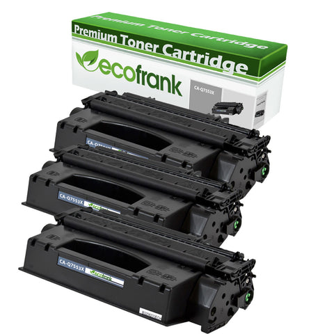 EcoFrank Compatible (High Yield) Toner Cartridge Replacement for Canon 53X Q7553X (Black, 3-Pack)