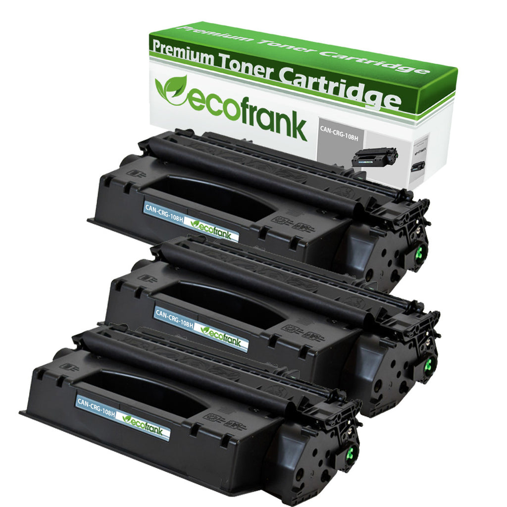 EcoFrank Compatible (High Yield) Toner Cartridge Replacement for Canon CRG-108H (Black, 3-Pack)