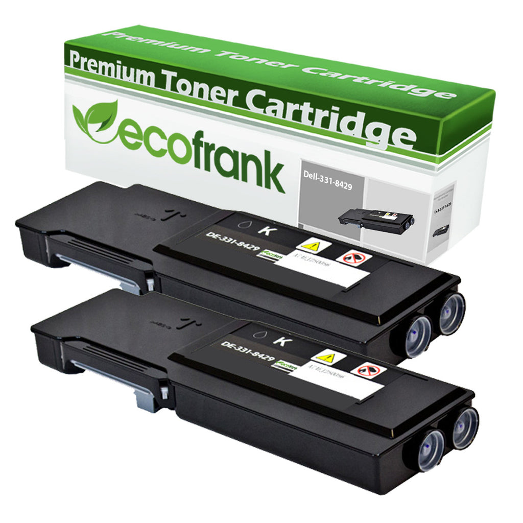 EcoFrank Compatible (Extra High Yield) Toner Cartridge Replacement for DELL 331-8429 W8D60 (Black, 2-Pack)