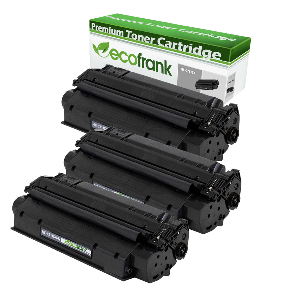 EcoFrank Compatible Toner Cartridge Replacement for HP 15A C7115A (Black, 3-Pack)