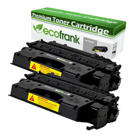 EcoFrank Compatible (High Yield) Toner Cartridge Replacement for HP 05X CE505X (Black, 2-Pack)
