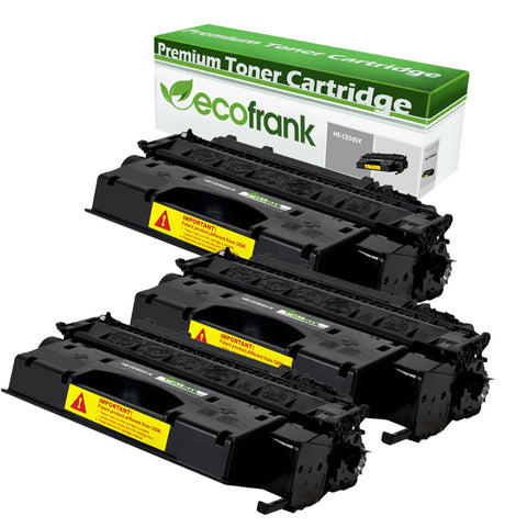 EcoFrank Compatible (High Yield) Toner Cartridge Replacement for HP 05X CE505X (Black, 3-Pack)