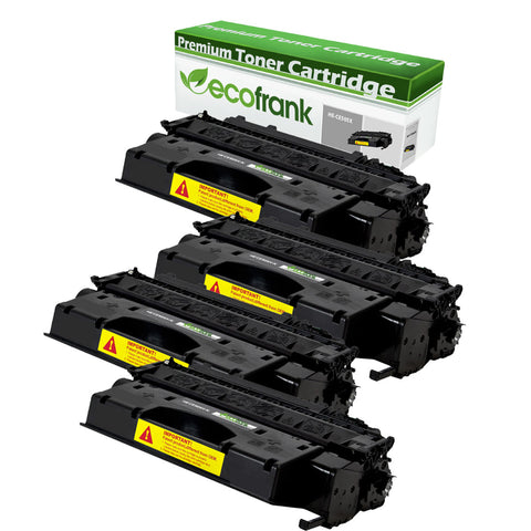 EcoFrank Compatible (High Yield) Toner Cartridge Replacement for HP 05X CE505X (Black, 4-Pack)