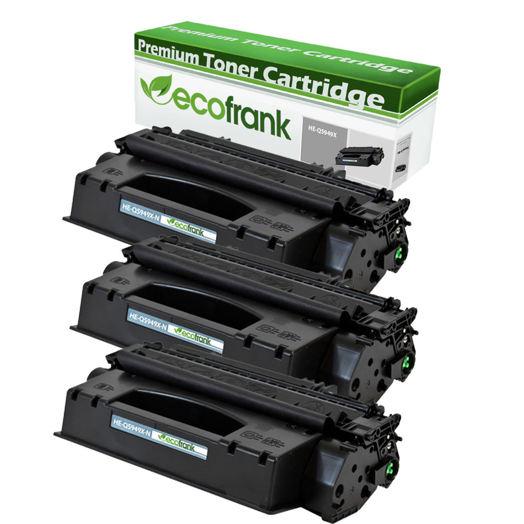 EcoFrank Compatible (High Yield) Toner Cartridge Replacement for HP 49X Q5949X (Black, 3-Pack)