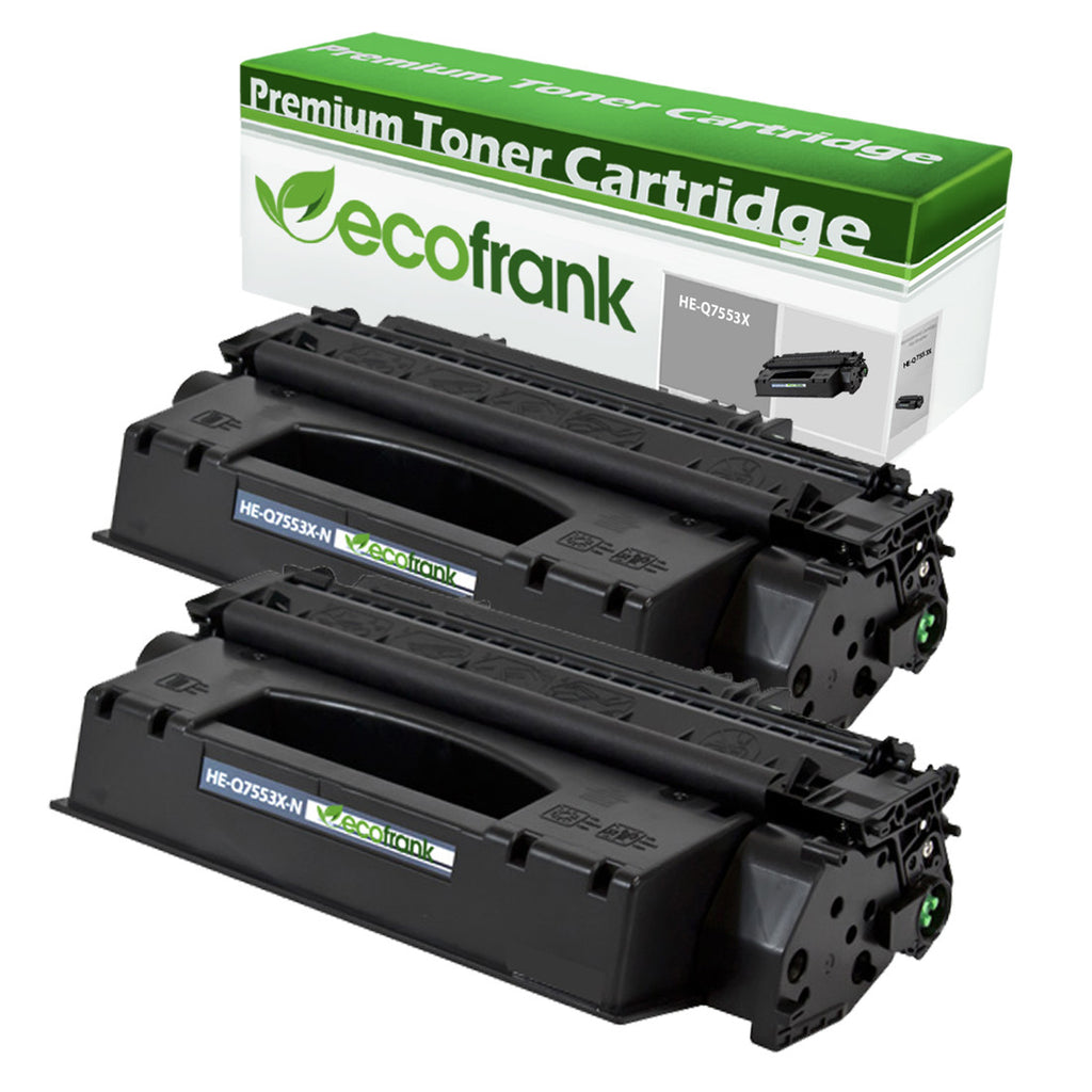 EcoFrank Compatible (High Yield) Toner Cartridge Replacement for HP 53X Q7553X (Black, 2-Pack)