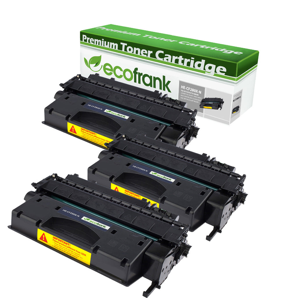 EcoFrank Compatible High Yield Toner Cartridge Replacement for HP 80X CF280X (Black, 3-Pack)