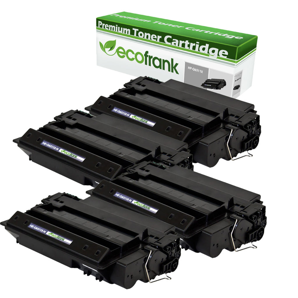 EcoFrank Compatible (High Yield) Toner Cartridge Replacement for HP 11X Q6511X (Black, 4-Pack)