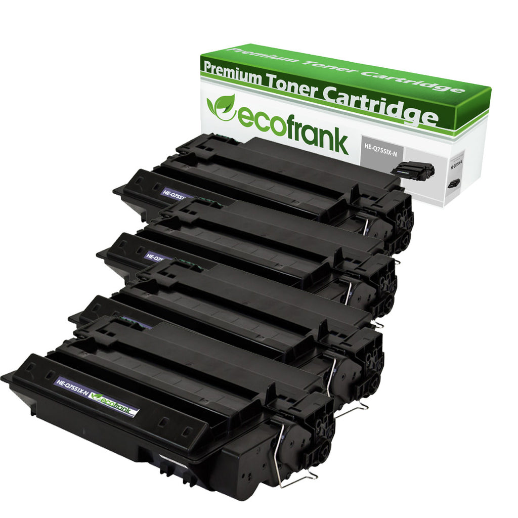 EcoFrank Compatible High Yield Toner Cartridge Replacement for HP 51X Q7551X (Black, 4-Pack)