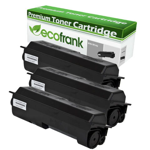 EcoFrank Compatible (4K Standard Yield) Toner Cartridge Replacement for Kyocera TK140 TK142 TK144 (Black, 3-Pack)