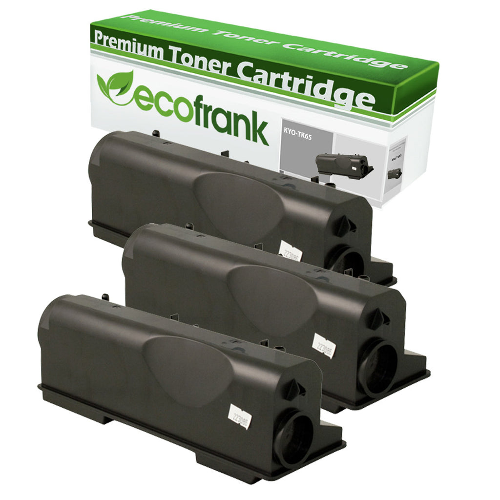 EcoFrank Compatible Toner Cartridge Replacement for Kyocera TK65 TK67 (Black, 3-Pack)