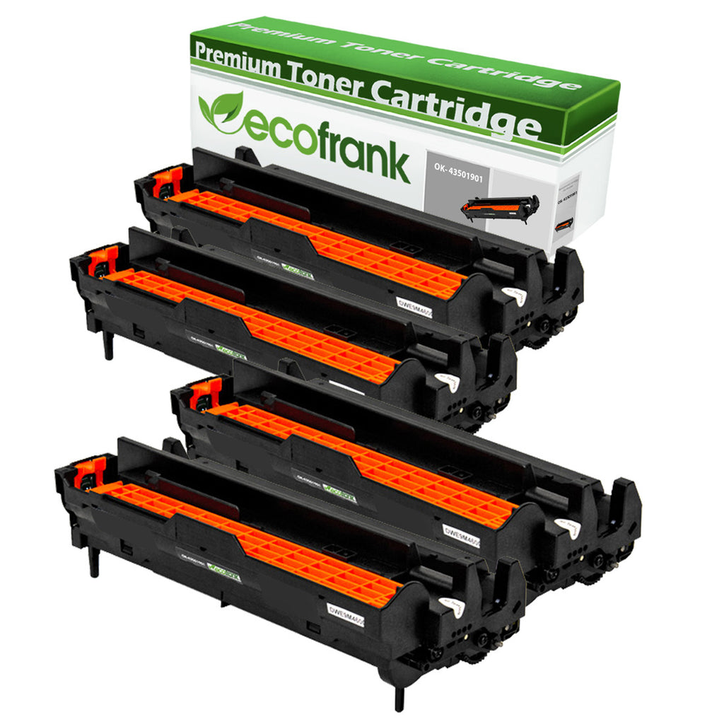 EcoFrank Compatible Toner Cartridge Replacement for Okidata 43501901 (Black, 4-Pack)