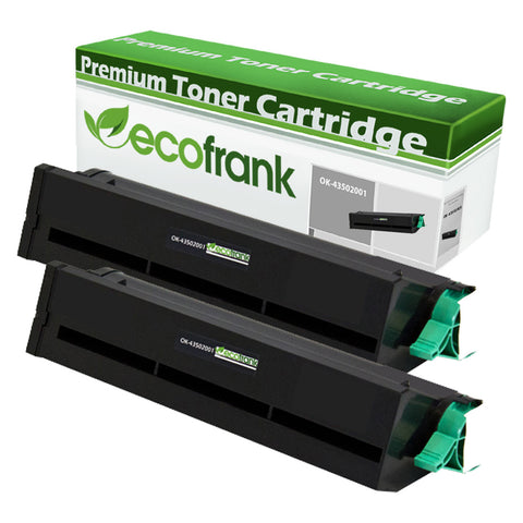 EcoFrank Compatible (High Yield) Toner Cartridge Replacement for Okidata 43502001 (Black, 2-Pack)