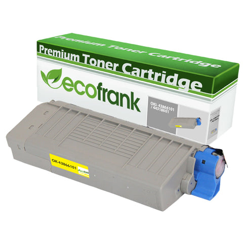 EcoFrank Compatible (High Yield) Toner Cartridge Replacement for Okidata 43866101 44318601 (Yellow 1-Pack)