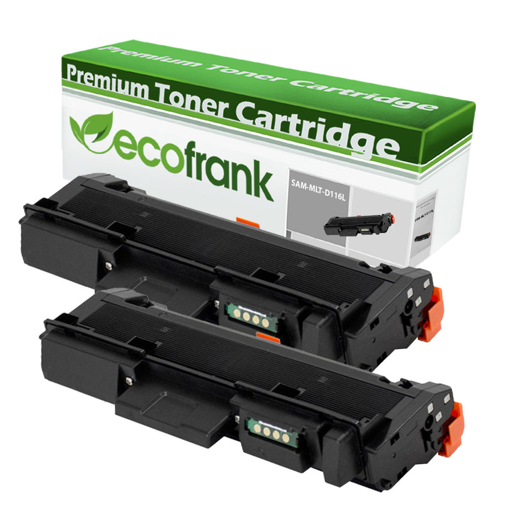 EcoFrank Compatible (High Yield) Toner Cartridge Replacement for Samsung MLT-D116L (Black, 2-Pack)