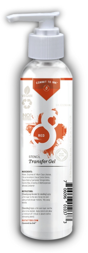 S8 Tattoo RED Stencil Transfer Solution 2 in 1 Formulation - 8 oz Bottle