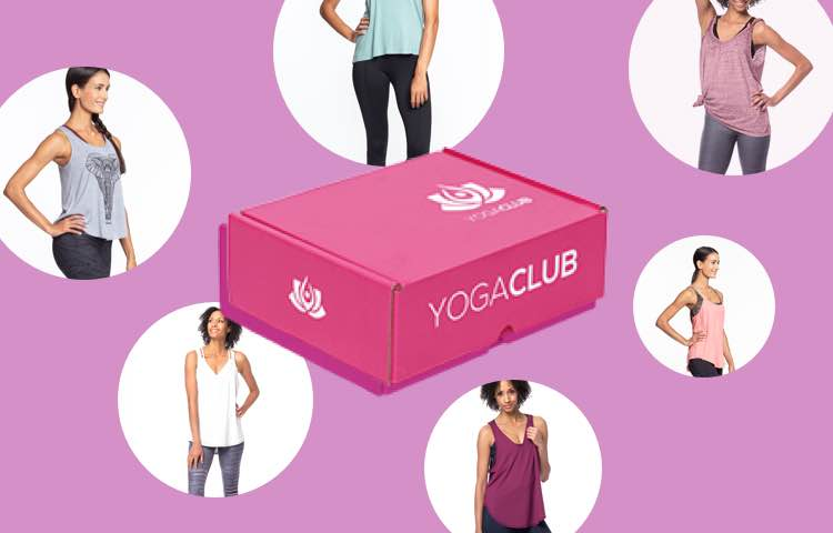 Multiple outfits and the designed YogaClub box