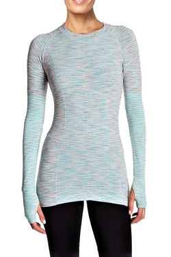 Aligned Space Dye Long Sleeve Runner Tee, Teal by Climawear