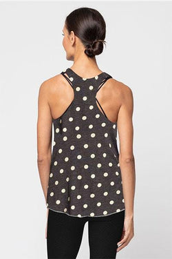 Printed Meegs Racer Tank, White Polka Dot by Alternative Apparel