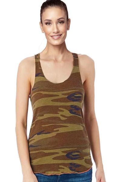 Printed Meegs Racer Tank Camo by Alternative Apparel