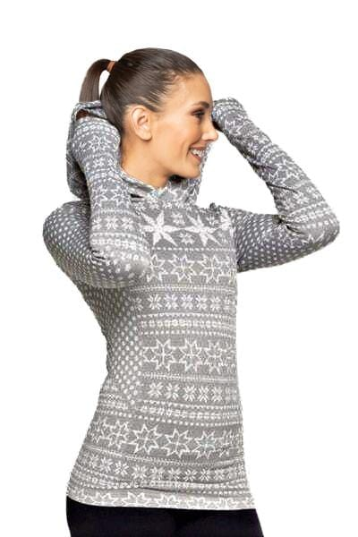Nordic Hoodie Long Sleeve, Grey & White by Climawear