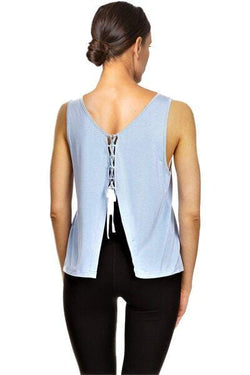 Lace Back Tank, Blue by The Free Yoga