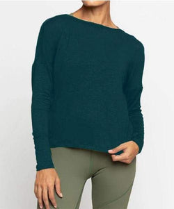 Alia L/S Twist Top, Dark Teal (Vie Active)