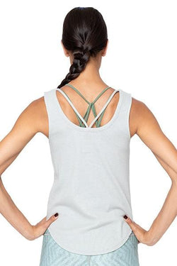 Vintage Rib Strappy Scoop Back Shirttail Tank, Cool Grey by Chaser