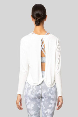 Alia Long Sleeve Twist Top, Ivory