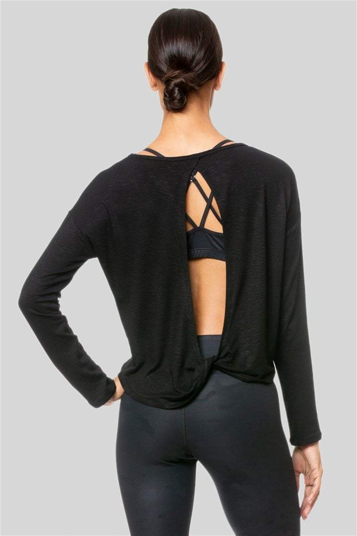 Alia Long Sleeve Twist Top, Black