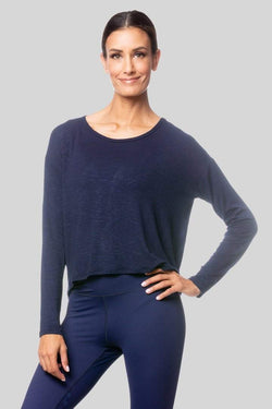 Alia Long Sleeve Twist Top, Navy