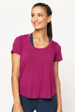 Cool Jersey Scoop Back Cross Back Shirttail Tee, Foxy Berry (Chaser) - Shirt - Chaser
