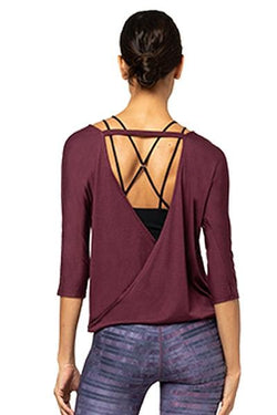 Drapey V-Back 3/4 Sleeve, Burgundy (Onzie)