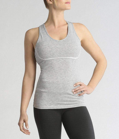 RACER BACK CAMI - GREY/WHITE STRIPE (Manduka)
