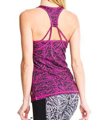 Violet Print Tank with Shelf Bra