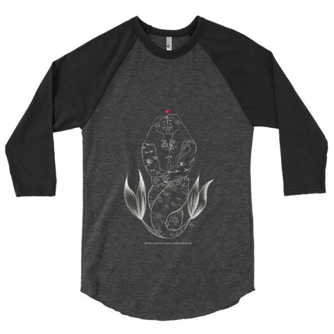 """Merman Hug"" 3/4 Sleeve Baseball Raglan Shirt"