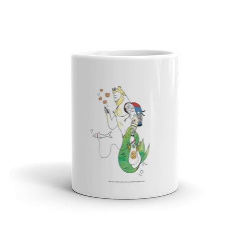 """Merman Walking Shark"" Mug"