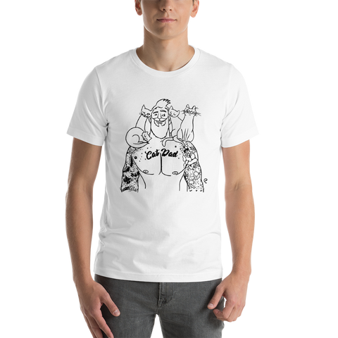 Cat Dad Black Outline  T-Shirt