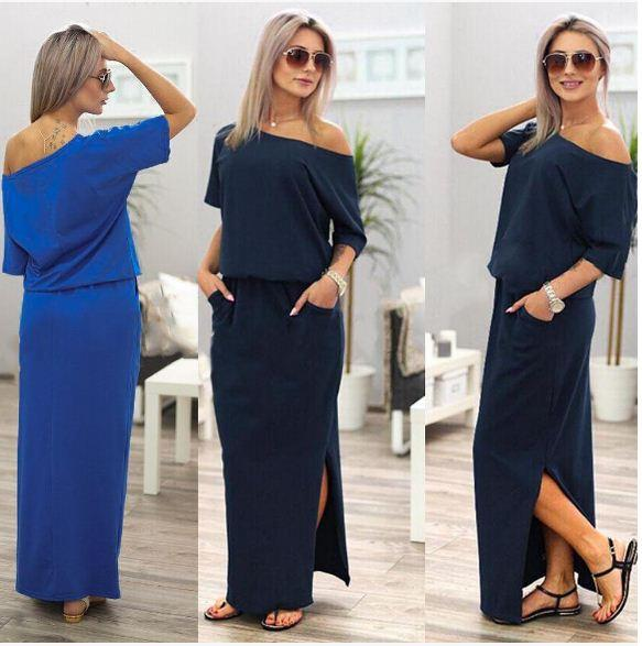 ANNA™ Side-Slit Maxi Dress With Pockets