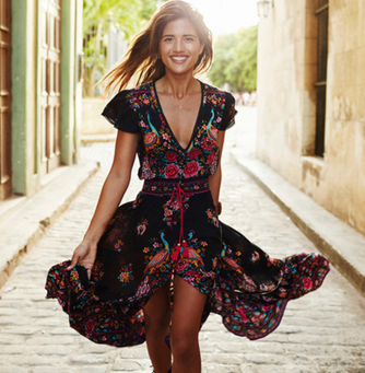 Summer Boho Dress Ethnic Sexy Print Retro Vintage Dress
