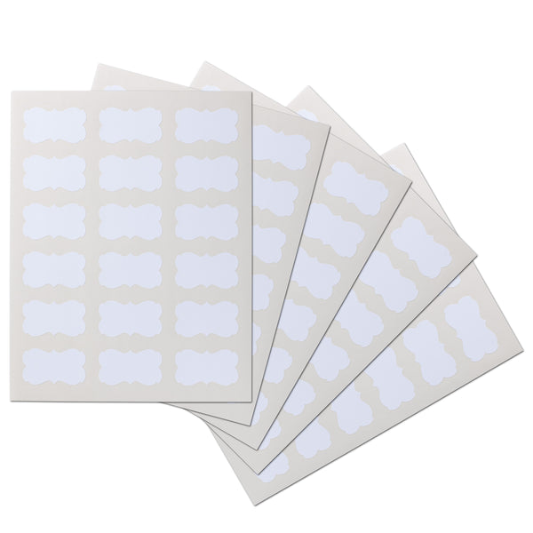 2.2441 x 1.2992 inch Scalloped Waterproof Labels