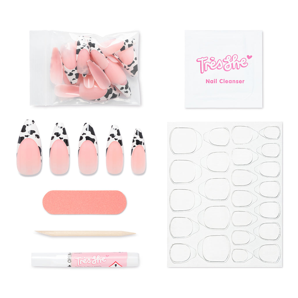 Pack contents of Big Moood ballerina shape nails. Contains 24 nails, alcohol cleansing wipe, buffer, cuticle pusher, glue and nail tabs