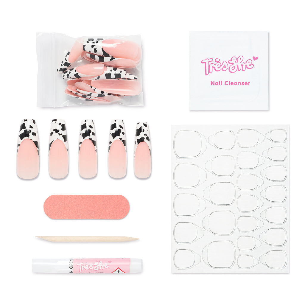 Pack contents of Big Moood coffin shape, ultra long nails. Contains 24 nails, alcohol cleansing wipe, buffer, cuticle pusher, glue and nail tabs