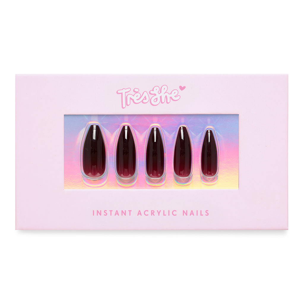 Tres She pink product box with Cherry Cola dark red jelly nails ballerina shape, long length