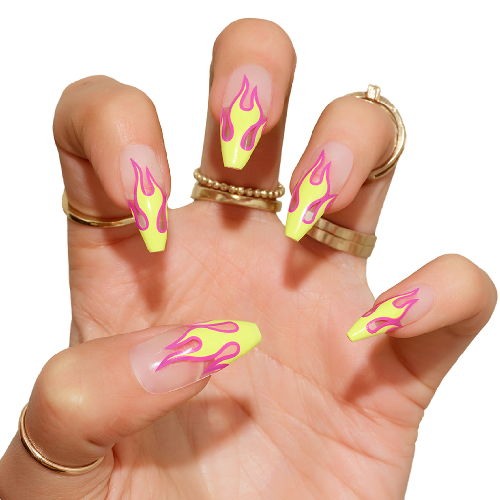 Tres She Instant Acrylics Nails Hot Girl Neon Yellow Pink Flames