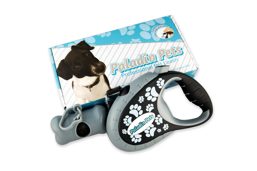 Paladin Pets Retractable Dog Leash  black with white paw prints